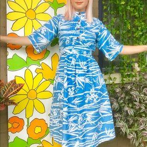 Vintage 70s caftan bell sleeve tiki dress S/M
